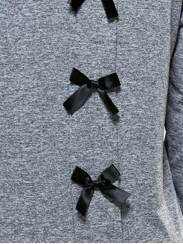 Outfit Bowknot Embellished Asymmetrical Sports Suit - L GRAY Mobile