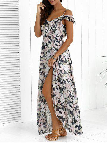 Fancy Floral Maxi Chiffon Beach Dress with Slit COLORMIX 2XL