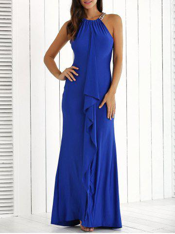 Discount Ruffle Front Maxi Formal Evening Carpet Dress ROYAL BLUE XL