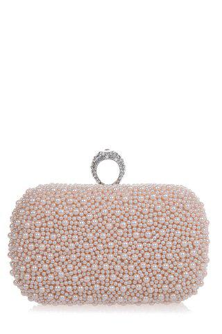 Chic Metal Trimmed  Beading Evening Clutch PINK