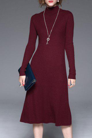 Outfits Knitted Long Sleeve Midi Dress WINE RED XL