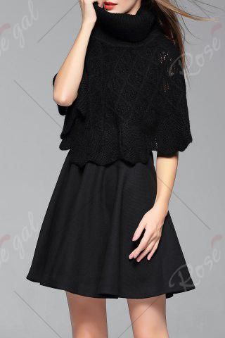 Affordable Mini Dress With Turtle Neck Cape Sweater - S BLACK Mobile