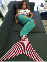 Moon and Santa Claus Pattern Knitting Mermaid Tail Blanket -