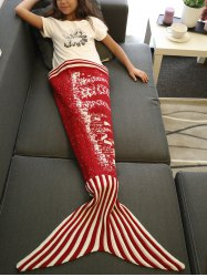 Christmas Tree and House Pattern Knitting Mermaid Blanket