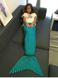 Super Soft Crochet Style Knitting Mermaid Tail Blanket For Kid