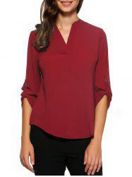 D-Ring Roll Sleeve High Low Blouse - WINE RED 2XL