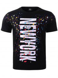 BoyNewYork Colorful Splatter Paint Print T-Shirt - BLACK XL