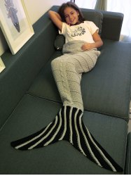 Stripe Pattern Crochet Knitting Mermaid Tail Design Blanket For Kid