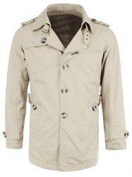 Cotton Blends Epaulet Zipper Design Trench Turn-Down Collar Coat