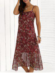 Summer Chiffon Floral Boho Slip Swing Vest Midi Dress - RED