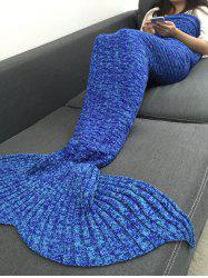 Keep Warm Acrylic Knitted Sofa Mermaid Tail Style Blanket - BLUE