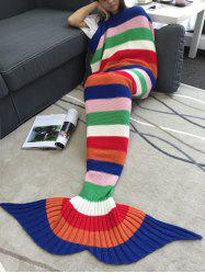 Acrylic Knitting Colorful Striped Mermaid Tail Design Blanket -