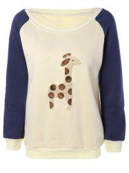 Raglan Sleeves Fleece Deer Sweatshirt -