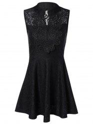 Sleevless Applique Laciness Dress -