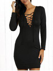 Tight Long Sleeves Criss-Cross Lace Up Dress - BLACK