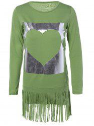 Long Sleeves Heart Pattern Fringed Shift Dress -
