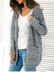 Knitted Open Front Cardigan With Pockets -