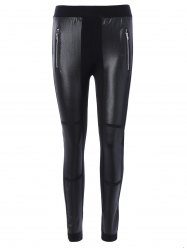 Elastic Waist PU Leather Patchwork Leggings - BLACK