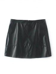Plus Size Faux Leather Mini Skirt