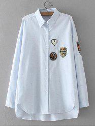 Plus Size High Low Applique Shirt -