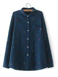 Plus Size Chest Pocket Embroidered Shirt - CADETBLUE 3XL