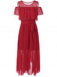 Cold Shoulder Overlay Flounce Chiffon Prom Dress - RED XL