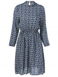Floral Printing Pleated Dress -
