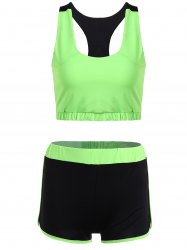Racerback U Neck Sporty Bra and Shorts Twinset - NEON GREEN