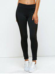 High Rise Mesh Panel Yoga Leggings - BLACK