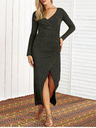 Glitter Long Sleeve Front Slit Maxi Knit Dress -