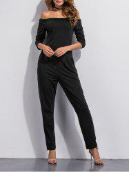 Off The Shoulder Pocket Design Jumpsuit - BLACK