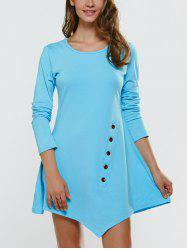 Long Sleeve Asymmetric Mini Dress - AZURE