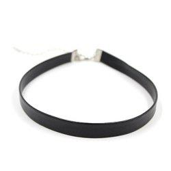 Fake Leather Choker Necklace - SILVER