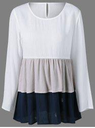 Color Block Layered Blouse - WHITE L