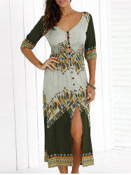 Empire Waist Tribal Print High Slit Dress