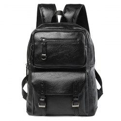 Zip Stitching Buckle Strap Backpack - Noir