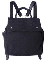 Canvas Splicing Magnetic Closure Backpack -
