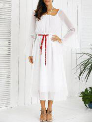 Drawstring Bell Sleeves Lace Spliced Chiffon Dress - WHITE