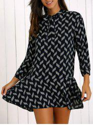 Printed Bowknot Tie Flounce Hem Mini Dress -