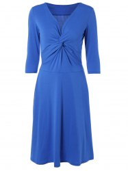 3/4 Sleeves Twist-Front High Waist Dress