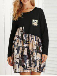 Long Sleeve Print Mini Smock Dress -