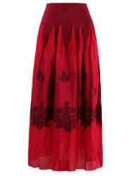 Stretchy Print Skirt - RED
