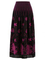 Print Straight Skirt - ROSE RED