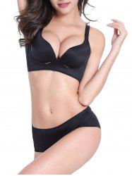 Seamless Embroidered Wire Free Bra Set - BLACK