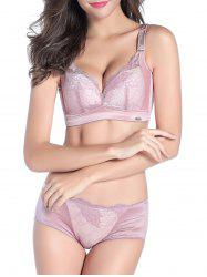 V Shape Push Up Lace Bra and Underwear Set