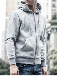 Drawstring Capuche Manches Longues Basic Zip-Up Hoodie - Gris 2XL