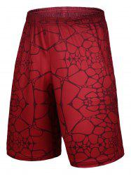 Irregular Geometric Printed Elastic Waist Basketball Shorts - RED