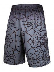 Irregular Geometric Printed Elastic Waist Basketball Shorts - GRAY