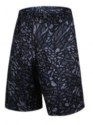 Crushed Ice Geometric Printed Elastic Waist Basketball Shorts