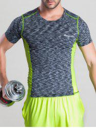 Quick-Dry Color Block Spliced Printed Round Neck Short Sleeve T-Shirt - GRAY M